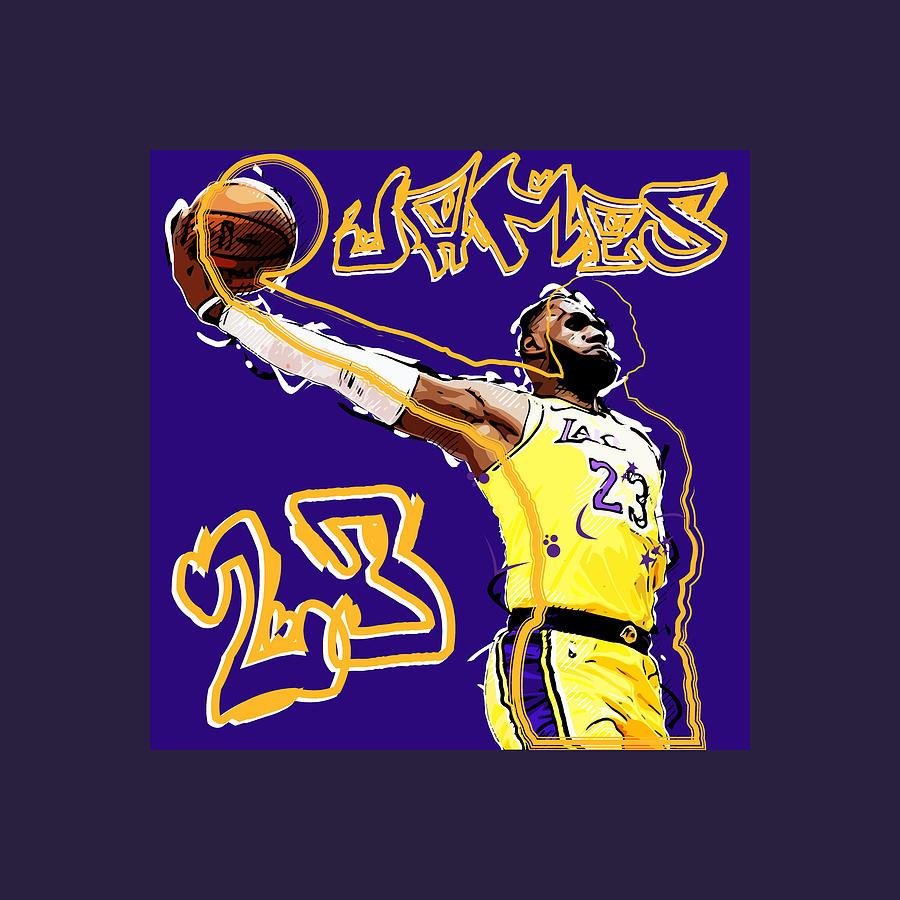 Lebron James Los Angeles Lakers Digital Art By Jeff Walzer