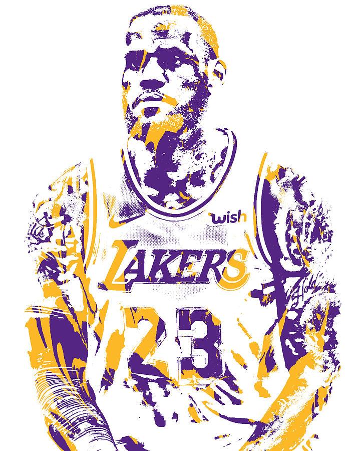 Lebron James Los Angeles Lakers Pixel Art 400 Mixed Media By Joe Hamilton