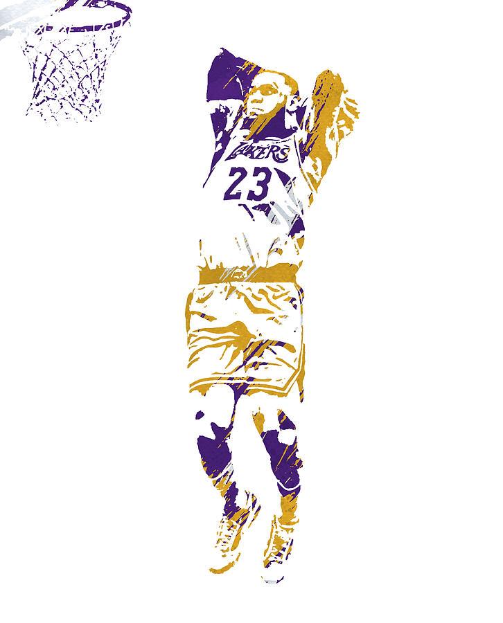 Lebron James Los Angeles Lakers Strokes Pixel Art 3 Mixed Media By Joe Hamilton
