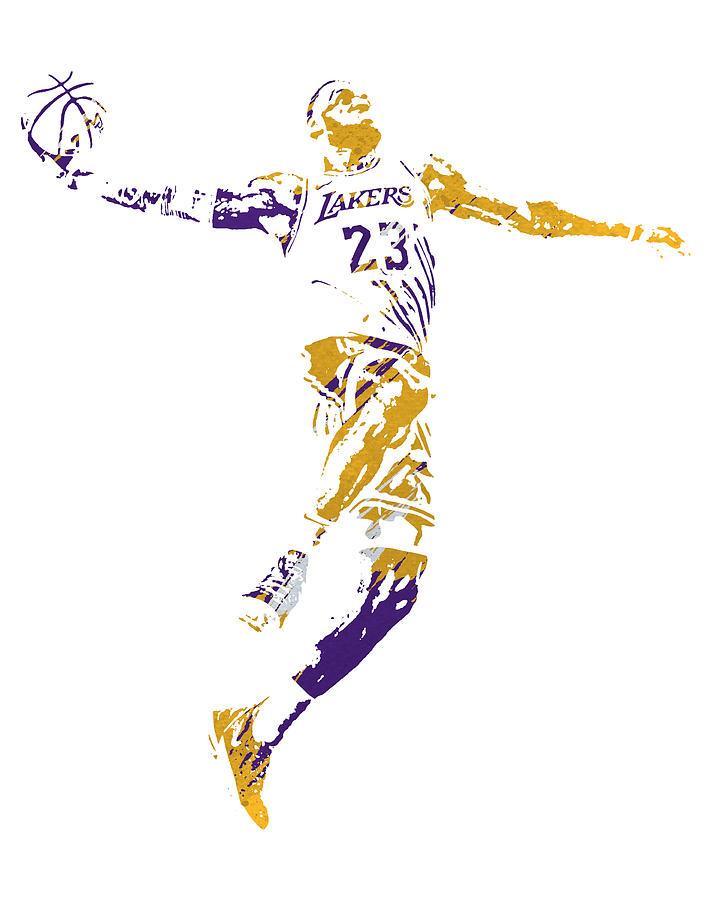 Lebron James Los Angeles Lakers Strokes Pixel Art 4 Mixed Media By Joe Hamilton