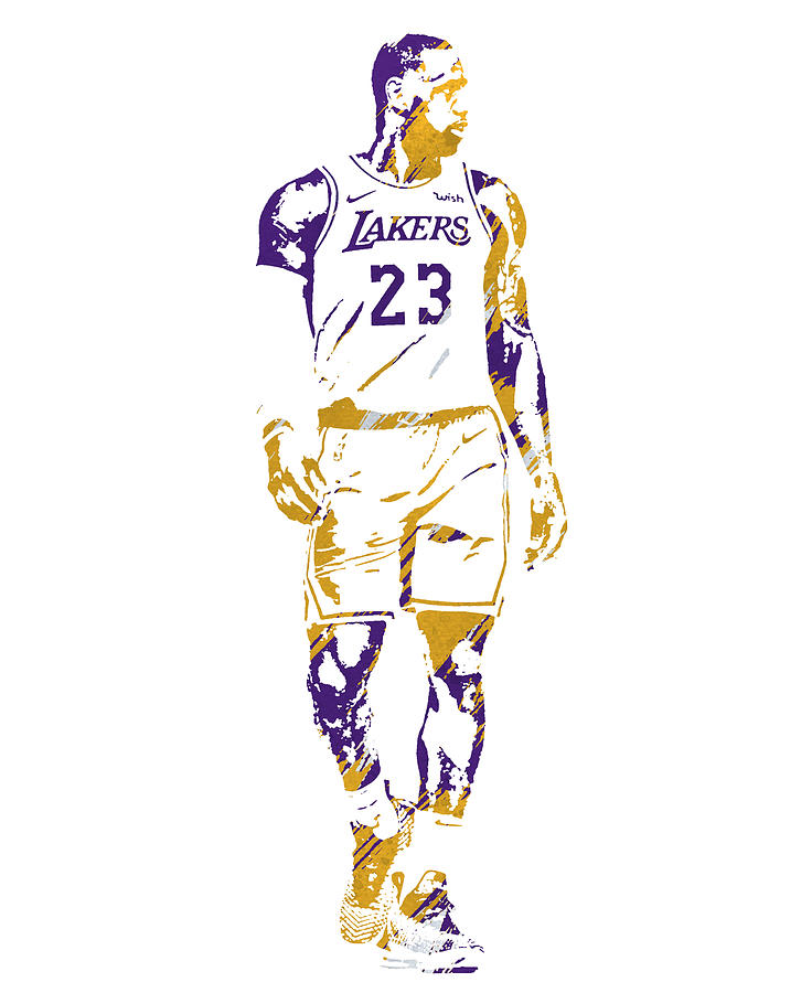 LEBRON JAMES LOS ANGELES LAKERS WATERCOLOR STROKES PIXEL ART 1 by Joe Hamilton