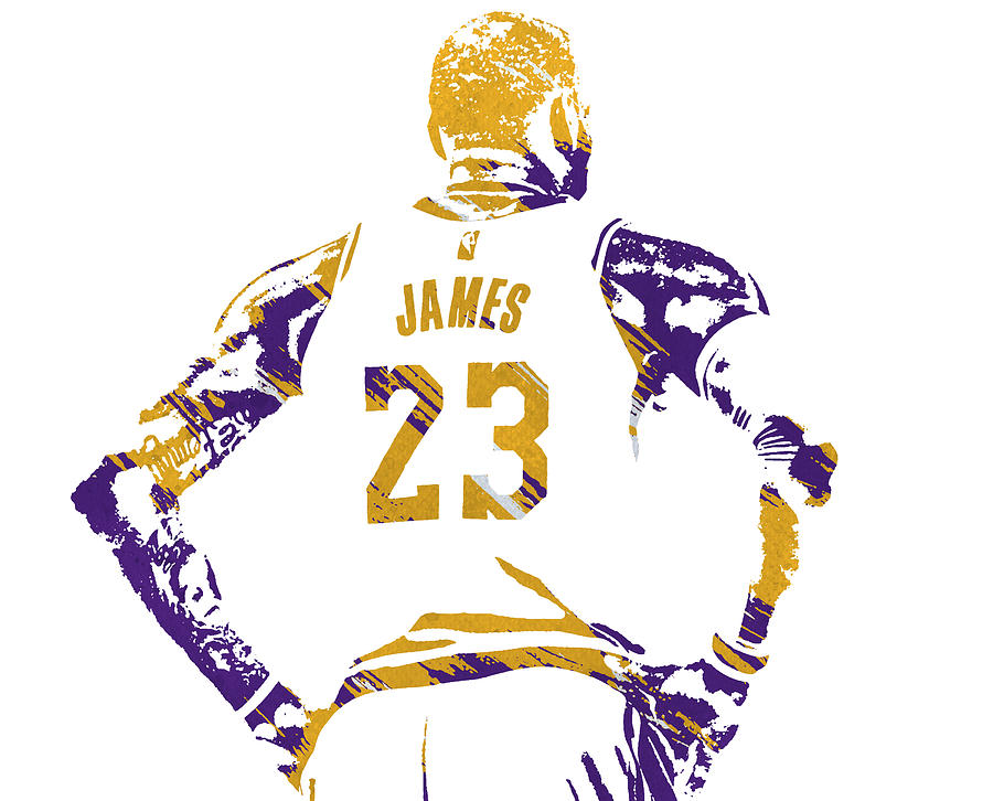 LEBRON JAMES LOS ANGELES LAKERS WATERCOLOR STROKES PIXEL ART 2 by Joe Hamilton