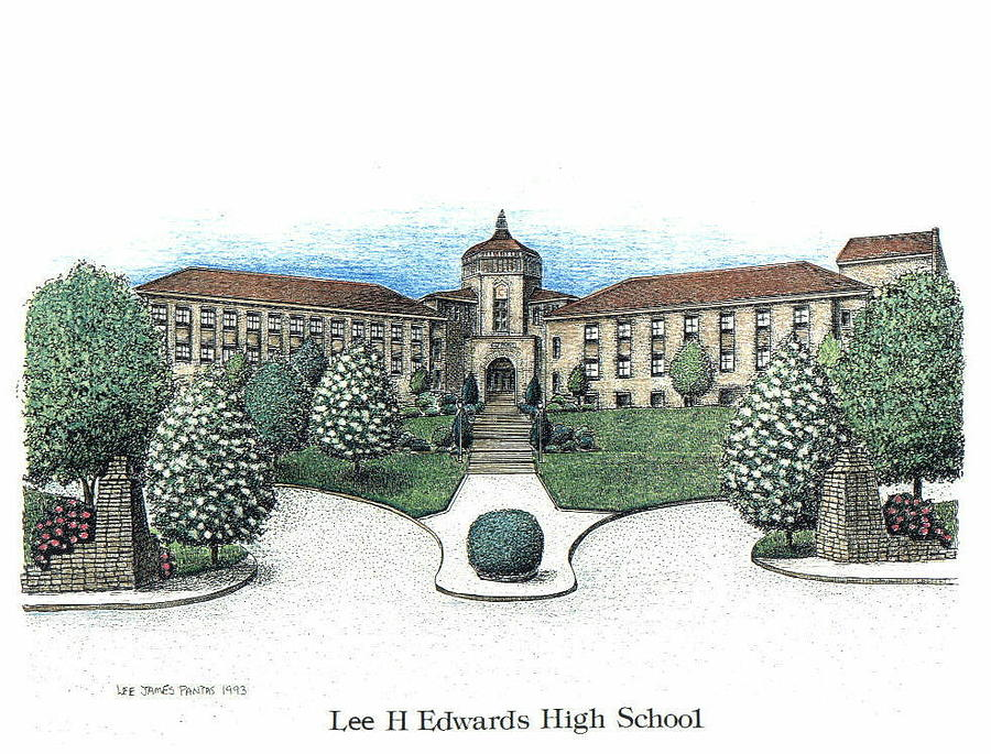 Asheville Drawing - Lee Edwards High School by Lee Pantas