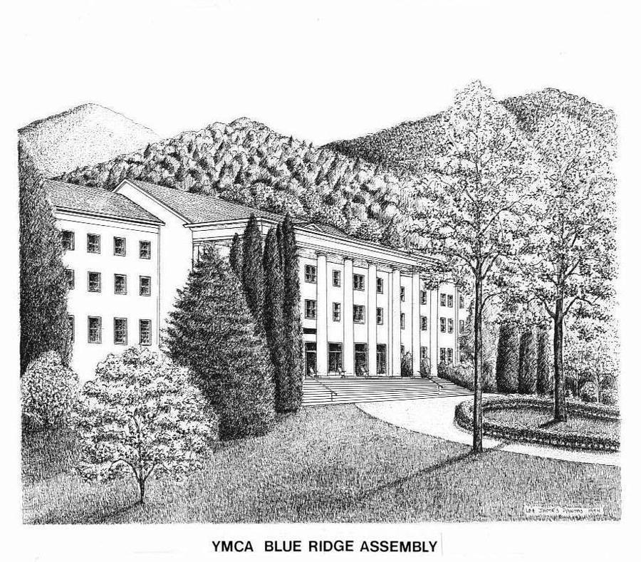 Lee Hall at YMCA Blue Ridge Assembly Drawing by Lee Pantas