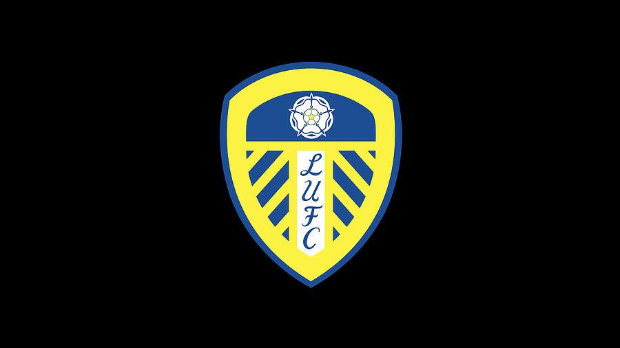 Leeds United Official Logo English Premier League Football Club Black Digital Art By Music N Film Prints