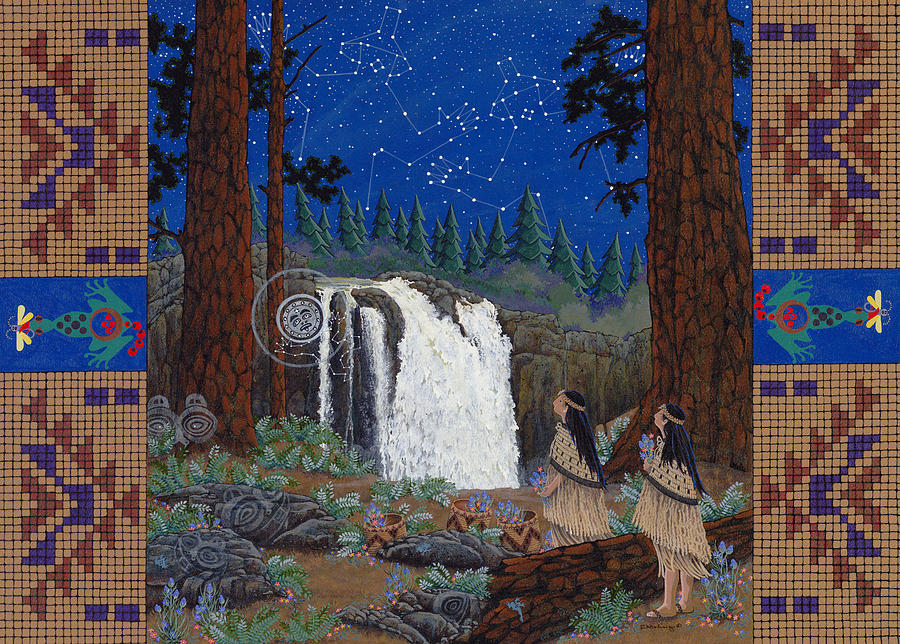 America Painting - Legend of Snoqualmie Falls by Chholing Taha