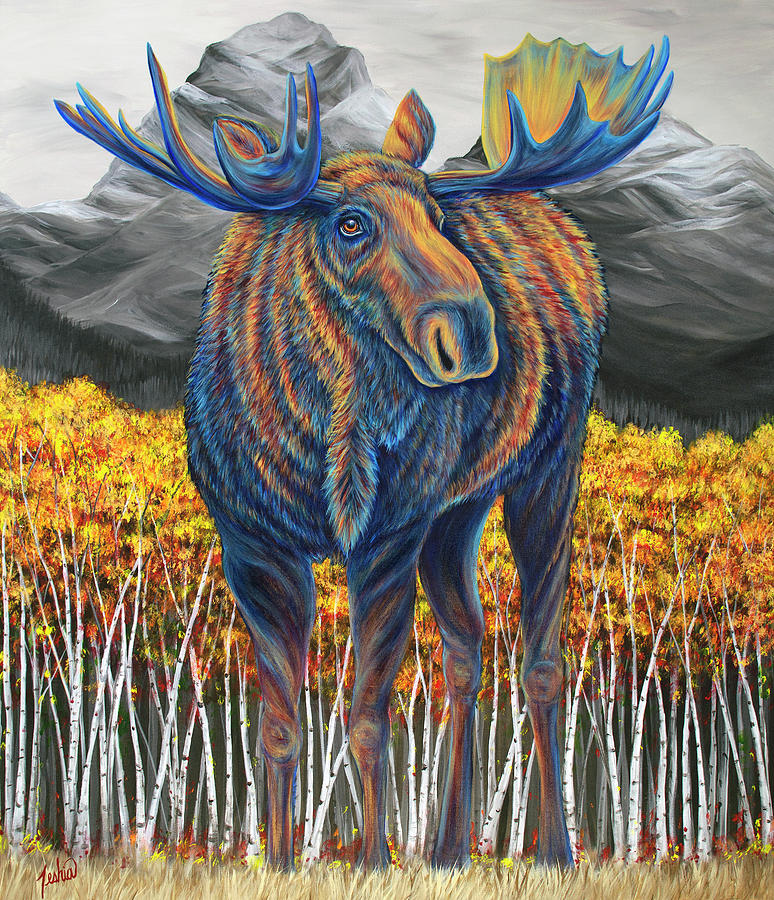 Moose Painting - Legend of the Fall by Teshia Art