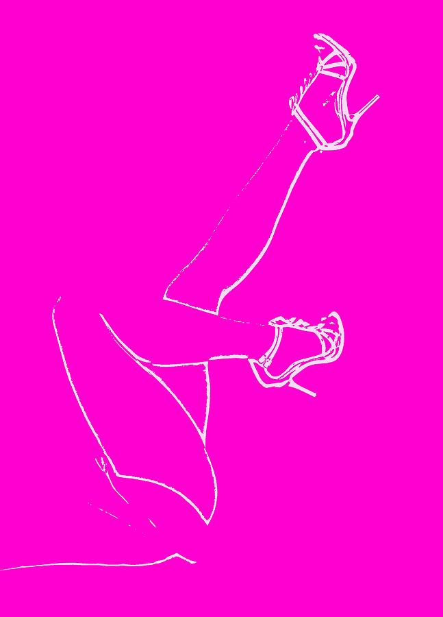 Legs - Line Drawing Hot Pink Drawing