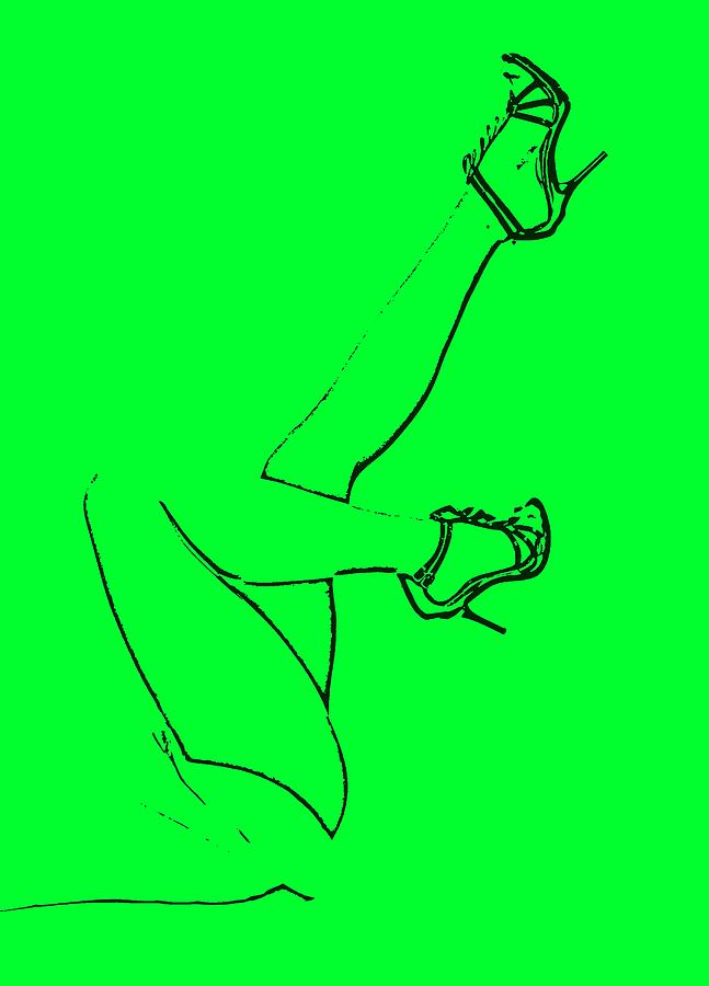 Legs - Line Drawing Neon Green Drawing