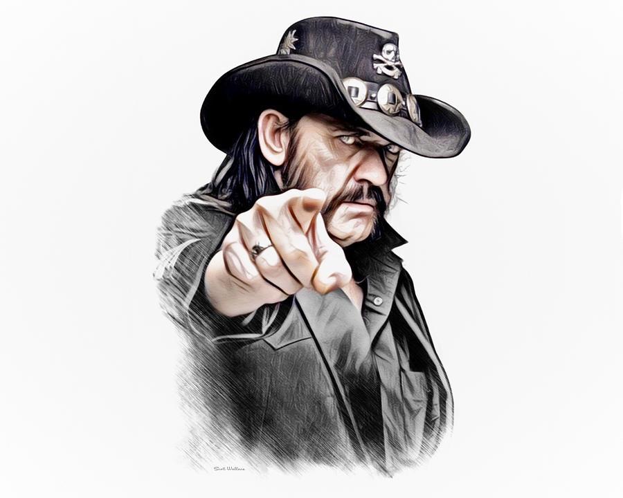 Lemmy Kilmister Color Sketch Portrait Digital Art