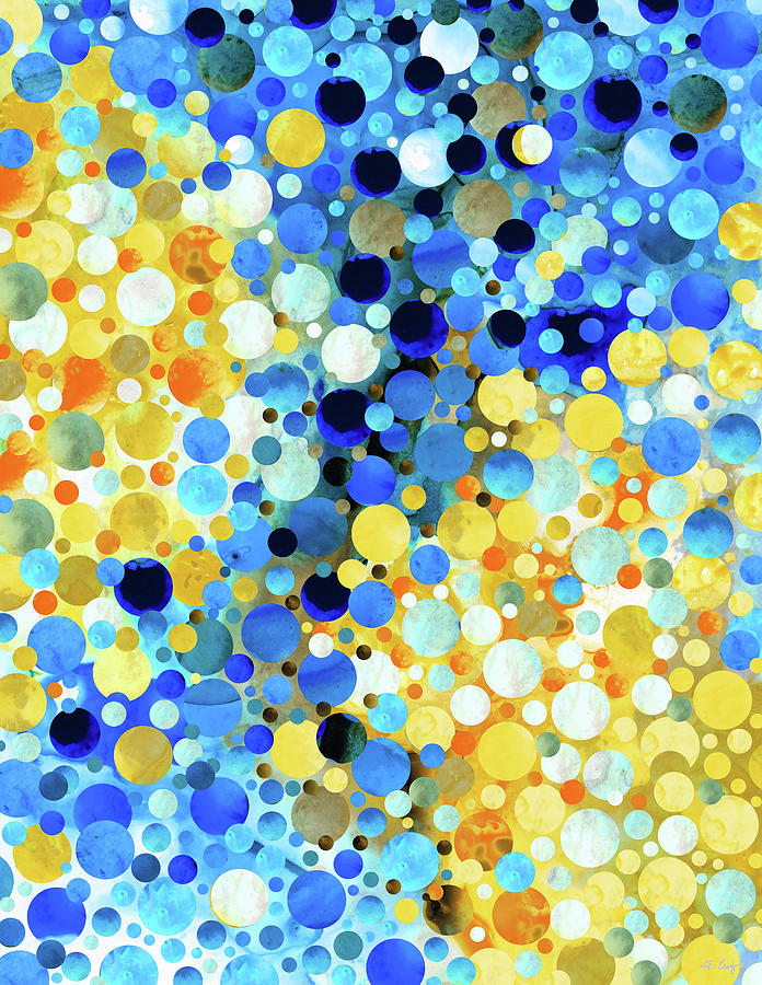 Blue Painting - Lemon Blue - Abstract Modern Mosaic Art by Sharon Cummings