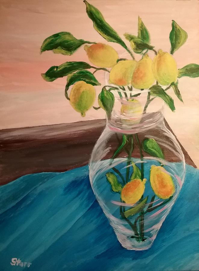 Lemons In A Vase Painting