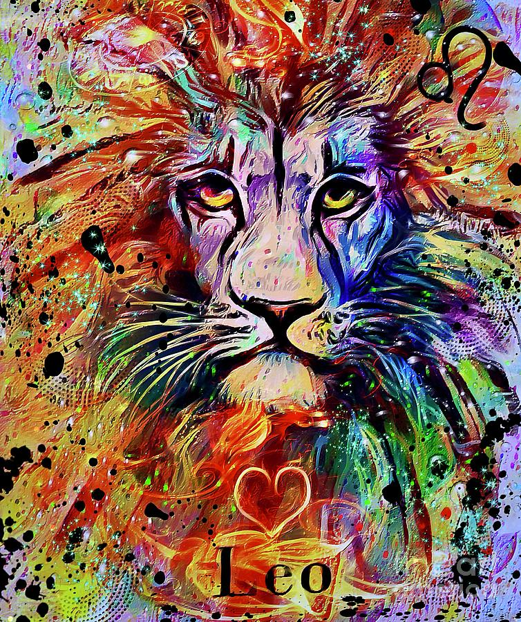 Leo Zodiac Art Mixed Media
