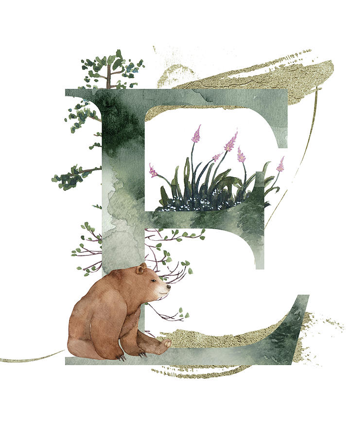 Letter E With Bear Mixed Media