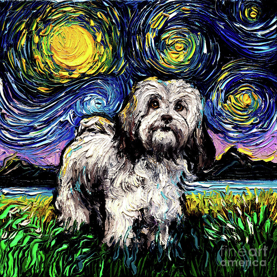 Dog Painting - Lhasa apso by Aja Trier