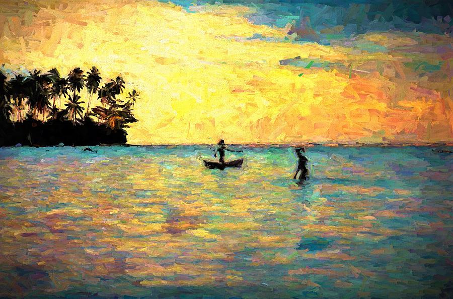 Liapari Island Fishing In The Lagoon by Joan Stratton