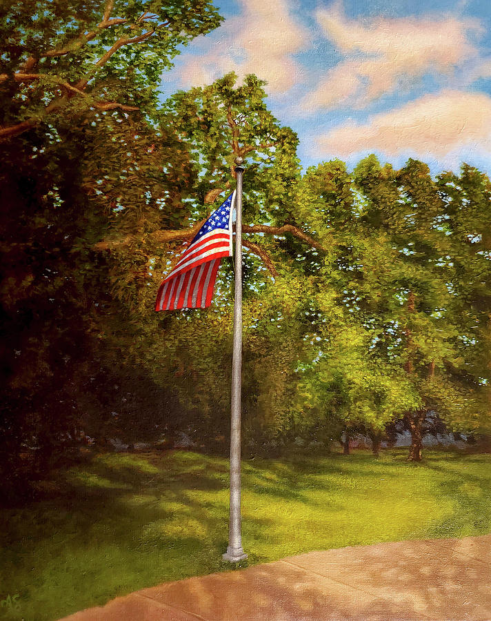 American Flag Painting - Liberty and Justice for All by Alison Shepard