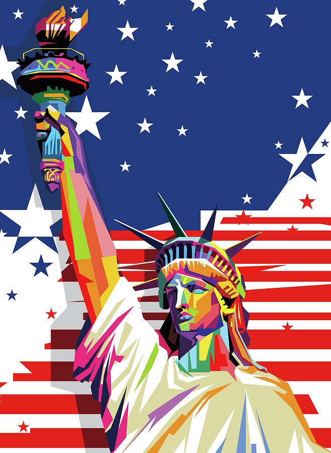 Liberty Statue America Flag Wpap Pop Art Digital Art