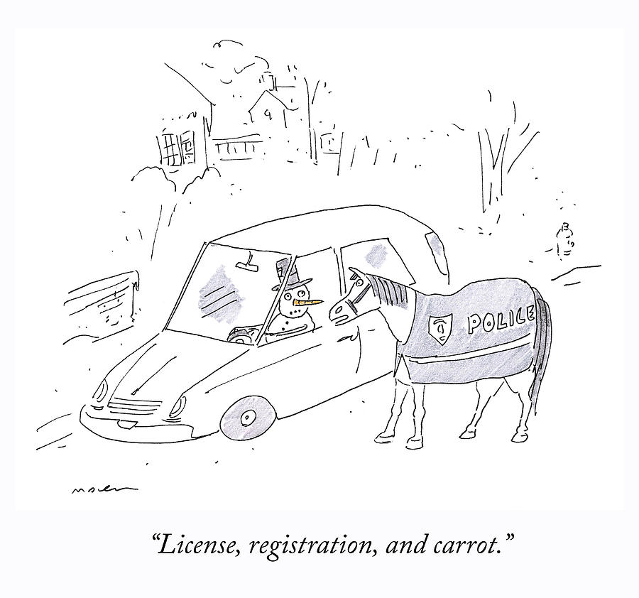 License and Registration Drawing by Michael Maslin
