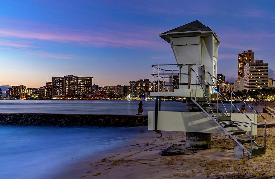Lifeguard Tower at Dusk by Kelley King