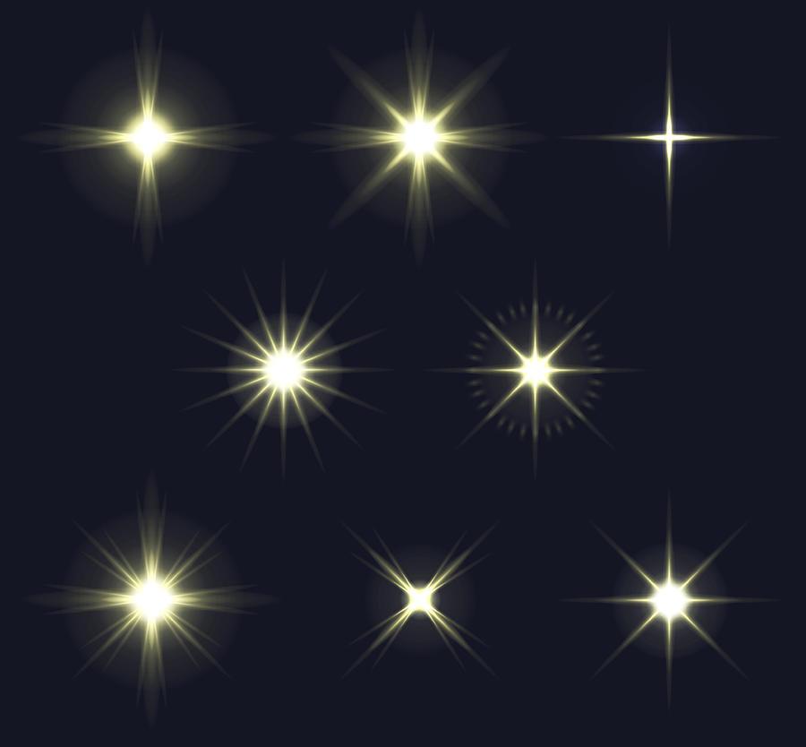 Light Flares Set Drawing by Amtitus