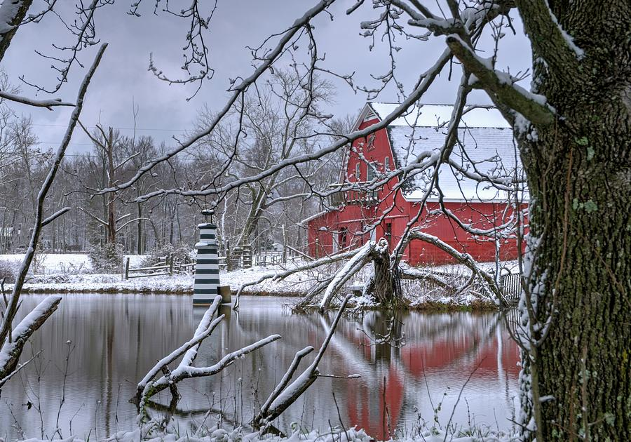 Lighthouse And Red Barn Photograph