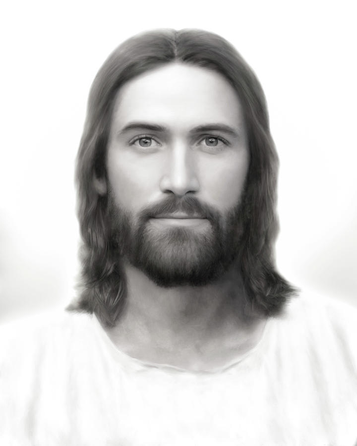 Jesus Painting - Light of the World  Black and White Version by Brent Borup