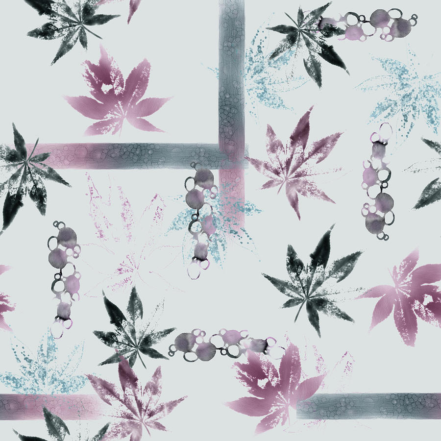 Light Watercolor And Ecoprint Maple Leaves Digital Art