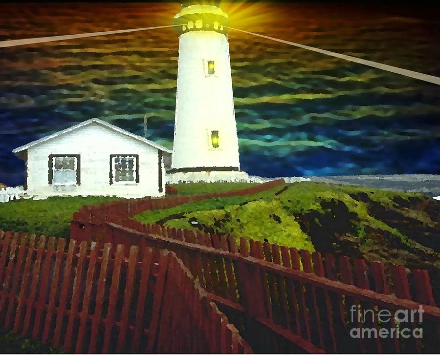 Lighted Lighthouse Painting
