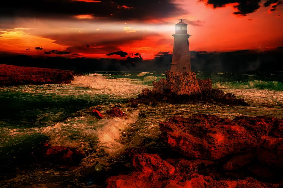Lighthouse At Sunset by Joy of Life Arts Gallery