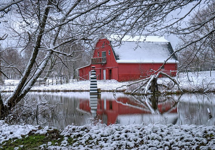 Lighthouse Red Barn And Lake Photograph