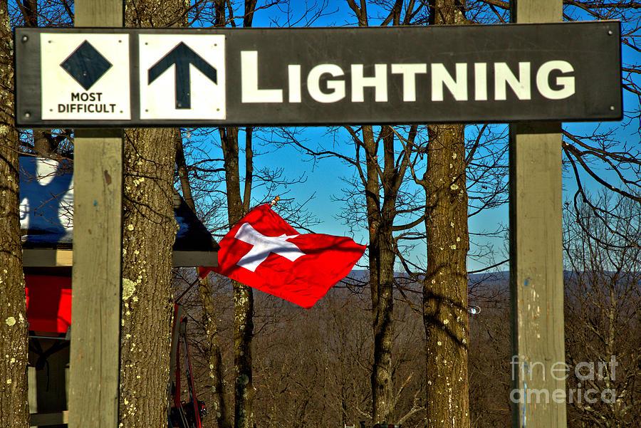 Lighting And Ski Patrol Flag by Adam Jewell