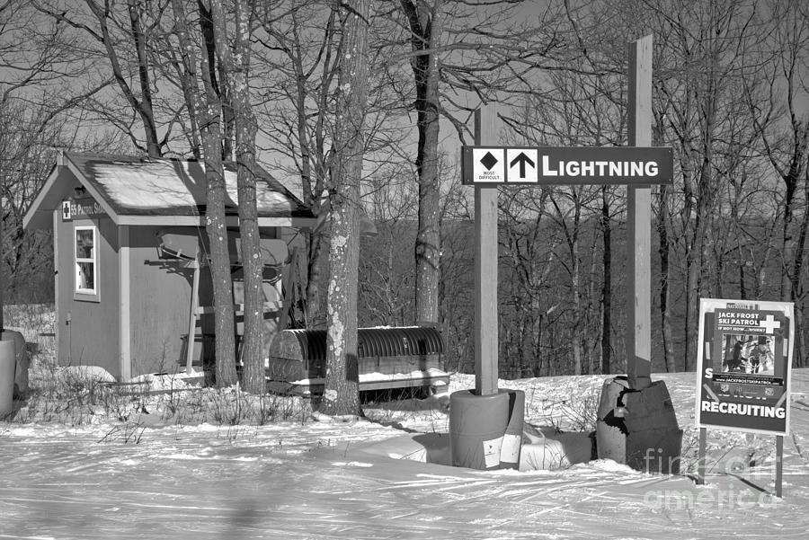 Lighting Ski Patrol Hut Black And White by Adam Jewell