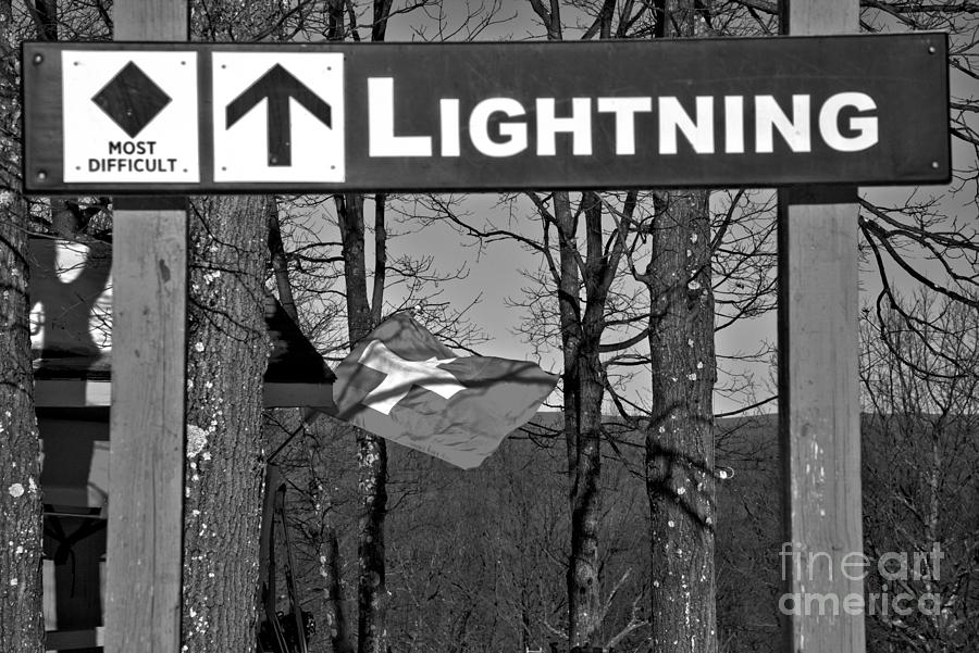 Lightning And Ski Patrol Flag Black And White by Adam Jewell