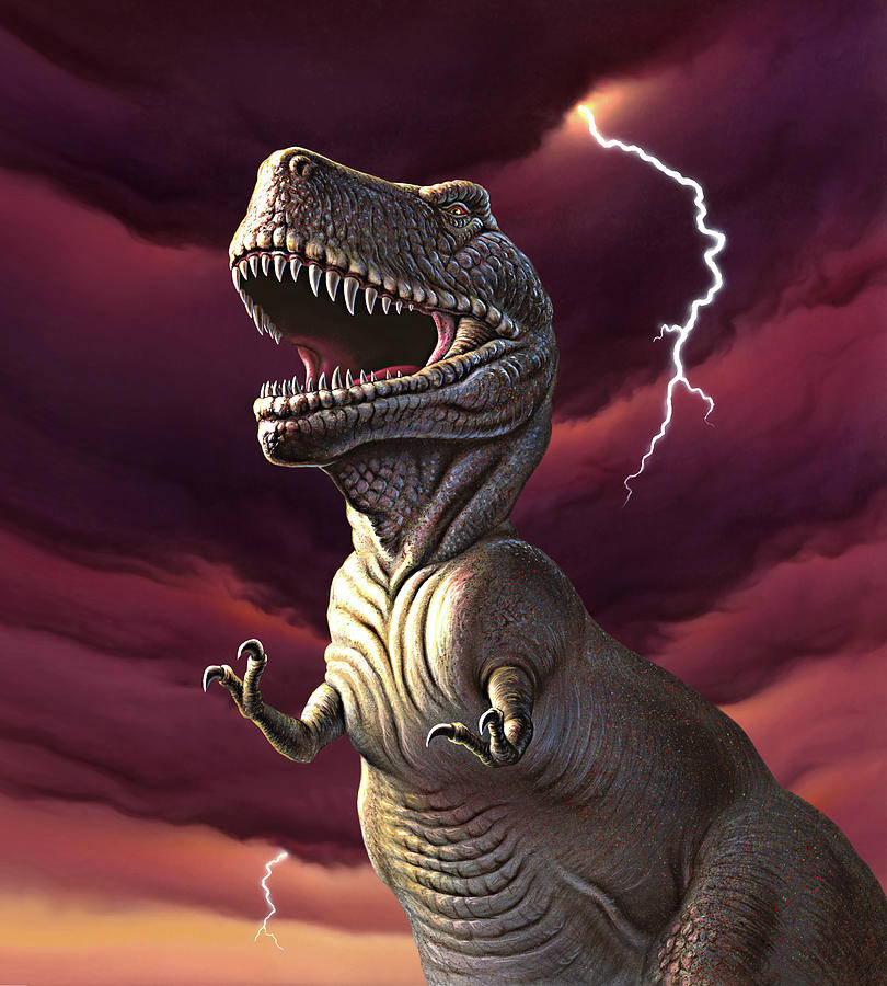 Trex Painting - Lightning Rex 2 by Jerry LoFaro