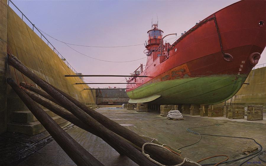Ship Painting - Kittiwake Lightship Docked by Brian McCarthy