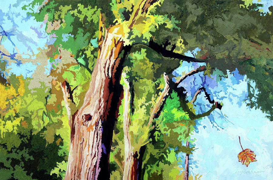 Trees Painting - Like a Autumn Leaf by John Lautermilch
