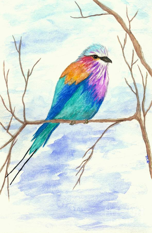 Bird Watercolor Painting - Lilac Breasted Roller Bird Watercolor Painting by Itaya Lightbourne