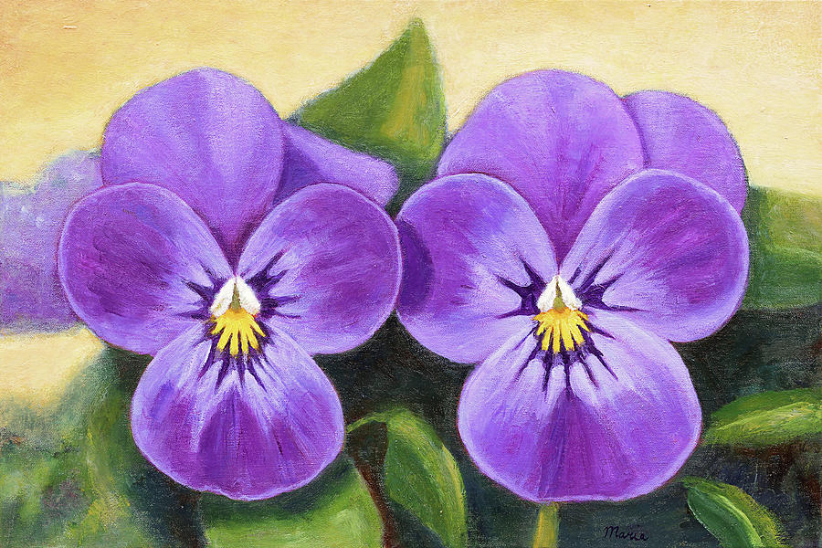 Pansy Painting - Lilac Pansies by Maria Meester