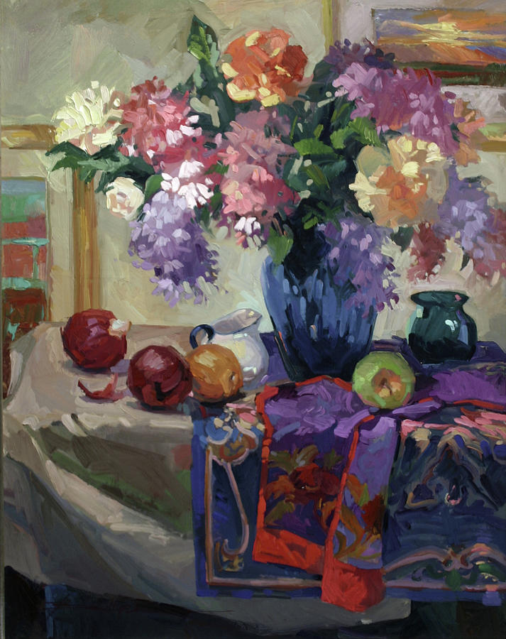 Lilacs and Peonies Painting by Betty Jean Billups