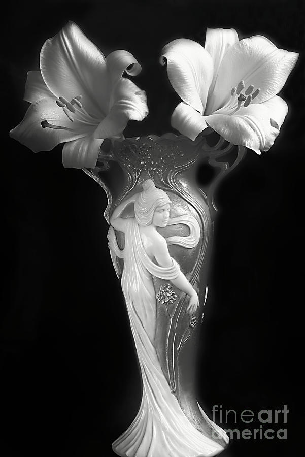 Lilies In A Vase In Black And White. Photograph