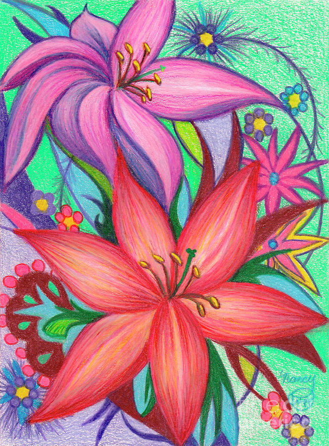Colored Pencil Drawing - Lily Joy by Nancy Cupp