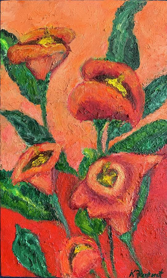 Lily Red Painting by Karen Fontenot
