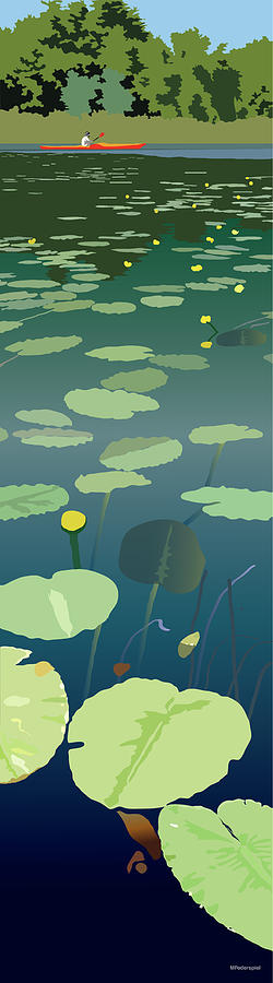Lake Painting - Lilypads by Marian Federspiel