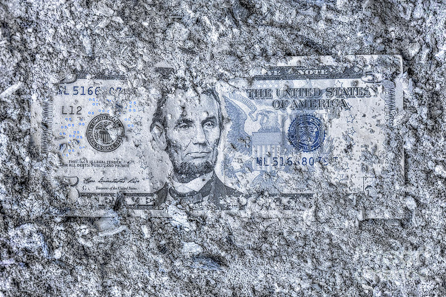 Lincoln Five Dollars In Ash Digital Art