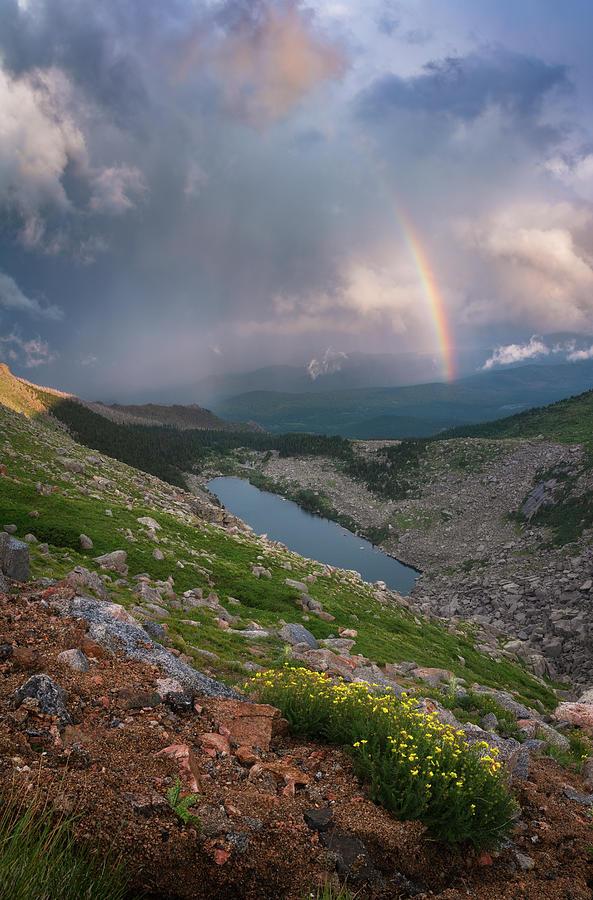 Rainbows Photograph - Lincoln Lake Rainbow by Darren White