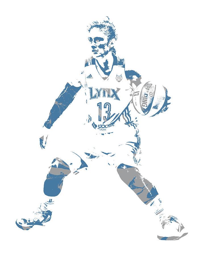 Lindsay Whalen Minnesota Lynx PIXEL ART 1 by Joe Hamilton