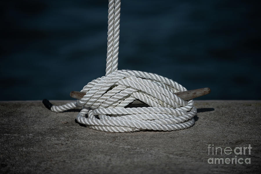 Line Tied Off To Dock Cleat Photograph
