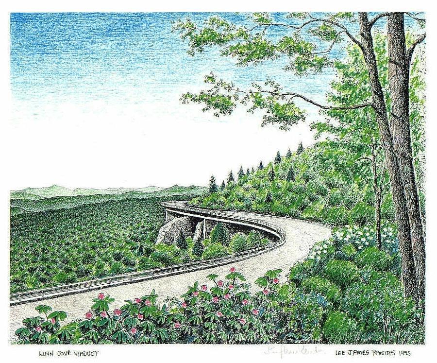 Blue Ridge Parkway Drawing - Linn Cove Viaduct on Blue Ridge Parkway by Lee Pantas