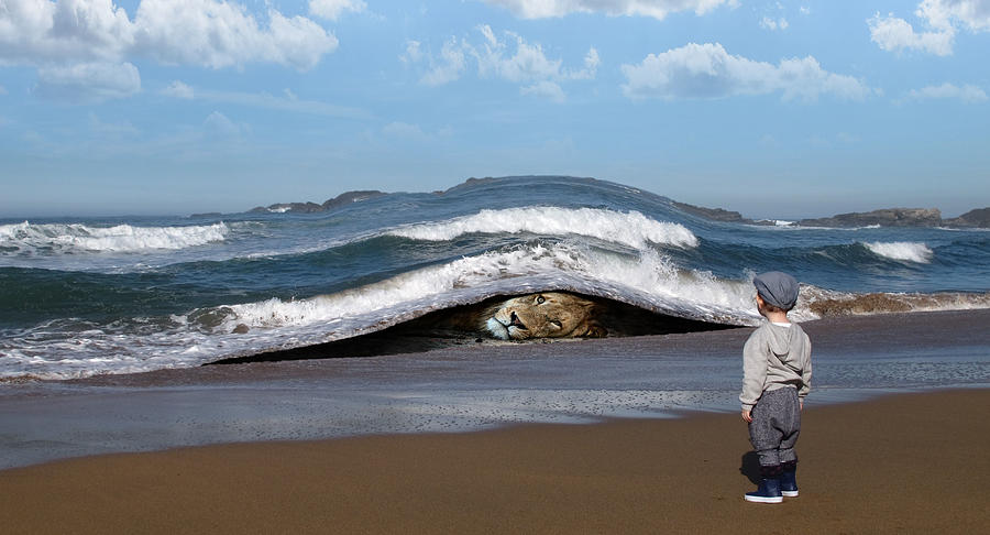 Lion Lying Down On The Beach And Child Staring Surreal Digital Art